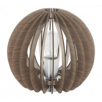 EGLO 94956 | Cossano Eglo stolové svietidlo 22cm prepínač na vedení 1x E27 hnedá, biela