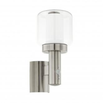 EGLO 95017 | Poliento Eglo stenové svietidlo pohybový senzor 1x E27 IP44 zušľachtená oceľ, nehrdzavejúca oceľ, priesvitná, biela