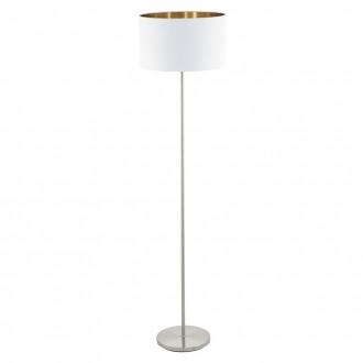 EGLO 95174 | Eglo-Pasteri-WHC Eglo stojaté svietidlo 151cm nožný vypínač 1x E27 matný biely, mosadz, matný nikel