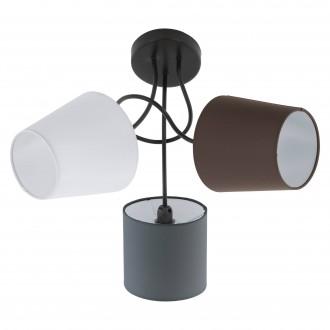 EGLO 95192 | Almeida Eglo stropné svietidlo 3x E14 čierna, biela, hnedá