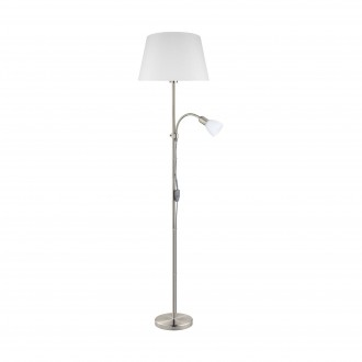 EGLO 95686 | Conesa Eglo stojaté svietidlo 170cm prepínač na vedení 1x E27 + 1x E14 matný nikel, biela
