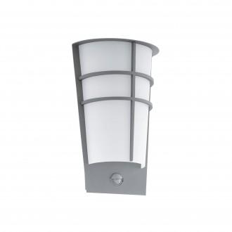 EGLO 96017 | Breganzo Eglo stenové svietidlo pohybový senzor, svetelný senzor - súmrakový spínač 2x LED 360lm 3000K IP44 strieborný, biela