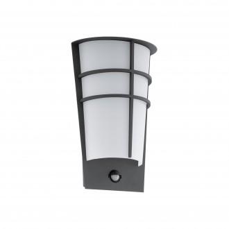 EGLO 96018 | Breganzo Eglo stenové svietidlo pohybový senzor, svetelný senzor - súmrakový spínač 2x LED 360lm 3000K IP44 antracit, biela