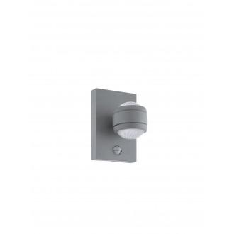 EGLO 96019 | Sesimba Eglo stenové svietidlo pohybový senzor 2x LED 560lm 3000K IP44 strieborný, priesvitné