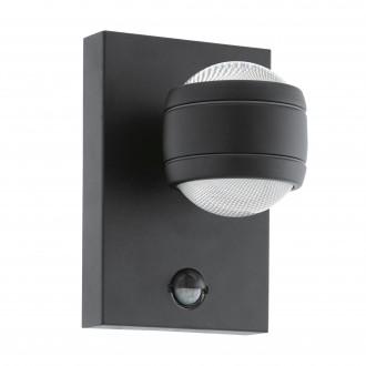 EGLO 96021 | Sesimba Eglo stenové svietidlo pohybový senzor 2x LED 560lm 3000K IP44 čierna, priesvitné