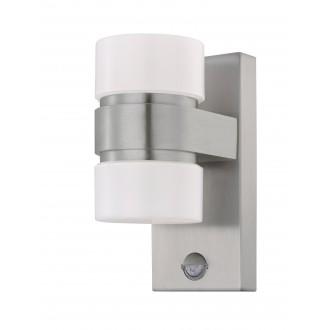 EGLO 96277 | Atollari Eglo stenové svietidlo pohybový senzor 2x LED 1000lm 3000K IP44 zušľachtená oceľ, nehrdzavejúca oceľ, strieborný, biela