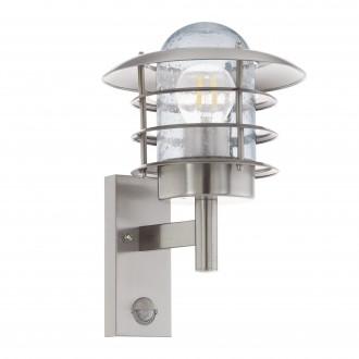 EGLO 96402 | Mouna Eglo stenové svietidlo pohybový senzor 1x E27 IP44 zušľachtená oceľ, nehrdzavejúca oceľ, priesvitné