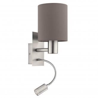 EGLO 96481 | Eglo-Pasteri-A Eglo rameno stenové svietidlo prepínač flexibilné 1x E27 + 1x LED 380lm matná hnedá, biela, matný nikel