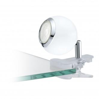 EGLO 96839 | Bimeda Eglo štipcové svietidlo prepínač na vedení otočné prvky 1x GU10 240lm 3000K biela, chróm
