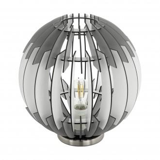 EGLO 96975 | Olmero Eglo stolové svietidlo 31,5cm prepínač na vedení 1x E27 matný nikel, sivé, biela