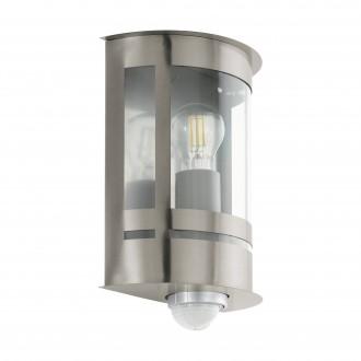 EGLO 97284 | Tribano Eglo stenové svietidlo pohybový senzor, svetelný senzor - súmrakový spínač 1x E27 IP44 zušľachtená oceľ, nehrdzavejúca oceľ, priesvitná