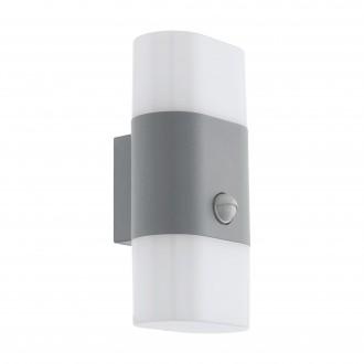 EGLO 97313 | Favria1 Eglo stenové svietidlo pohybový senzor 2x LED 1300lm 3000K IP44 strieborný, biela