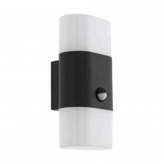 EGLO 97314 | Favria1 Eglo stenové svietidlo pohybový senzor 2x LED 1300lm 3000K IP44 antracit, biela
