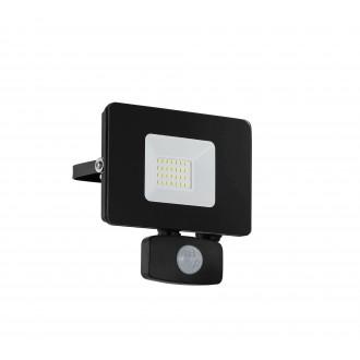 EGLO 97461 | Faedo Eglo svetlomet svietidlo pohybový senzor, svetelný senzor - súmrakový spínač otočné prvky 1x LED 1800lm 4000K IP44 čierna, priesvitná