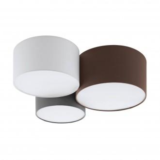 EGLO 97479 | Pastore Eglo stropné svietidlo 3x E27 biela, hnedá, sivé