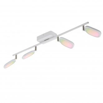 EGLO 97694 | EGLO-Connect-Palombare Eglo spot múdre osvetlenie regulovateľná intenzita svetla, nastaviteľná farebná teplota, meniace farbu, otočné prvky 4x LED 2400lm 2700 <-> 6500K biela