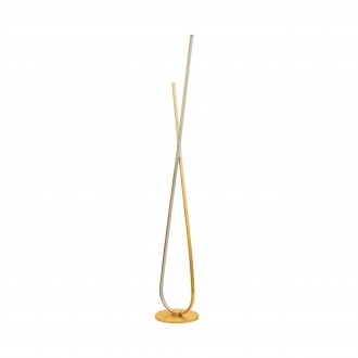 EGLO 97747 | Miraflores Eglo stojaté svietidlo 141cm nožný vypínač 1x LED 3200lm 3000K zlatý, biela