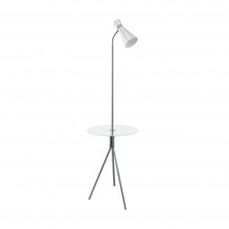 EGLO 97772 | Policara Eglo stojaté svietidlo 158,5cm prepínač 1x E27 matný nikel, biela, priesvitná