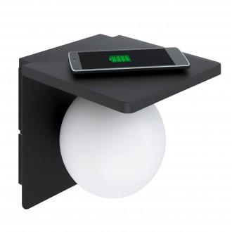 EGLO 98265 | Ciglie Eglo stenové svietidlo prepínač na vedení Qi nabíjačka na telefón, nabíjačka na mobil (bez kábla) 1x E14 čierna, opál