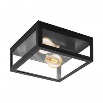 EGLO 99122 | Amezola Eglo stenové, stropné svietidlo 2x E27 IP44 čierna, priesvitné