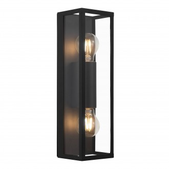 EGLO 99124 | Amezola Eglo stenové, stropné svietidlo 2x E27 IP44 čierna, priesvitné