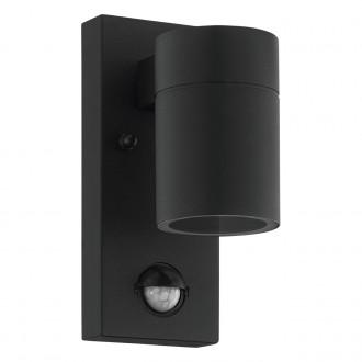 EGLO 99571   Riga-5 Eglo rameno stenové svietidlo hriadeľ pohybový senzor 1x GU10 240lm 3000K IP44 čierna, priesvitné