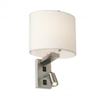ELSTEAD BELMONT/2W | Belmont Elstead rameno stenové svietidlo dva spínače 1x E14 + 1x LED 120lm saténový nike, biela