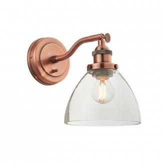 ENDON 76334 | Hansen Endon rameno stenové svietidlo prepínač 1x E14 starožitná červená meď, priesvitné