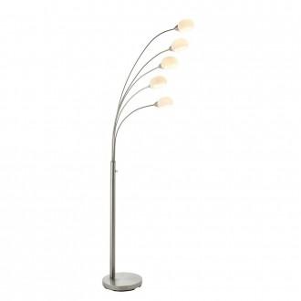 ENDON 76568 | Jaspa Endon stojaté svietidlo 180cm prepínač s reguláciou svetla 5x LED 2100lm 3000K saténový nike, biela