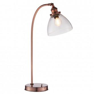ENDON 77861 | Hansen Endon stolové svietidlo 53,3cm prepínač na vedení 1x E14 starožitná červená meď, priesvitné