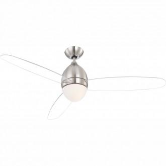 GLOBO 0302 | Premier Globo stropné svietidlo s ventilátorom diaľkový ovládač 2x E14 matný nikel, biela, priesvitné