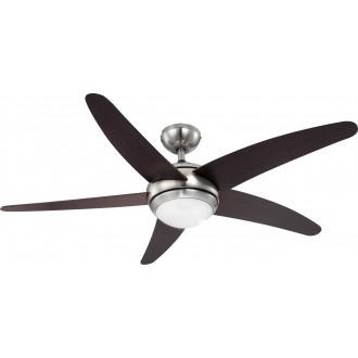 GLOBO 0306 | Fabiola Globo stropné svietidlo s ventilátorom diaľkový ovládač 1x R7S matný nikel, wenge, biela