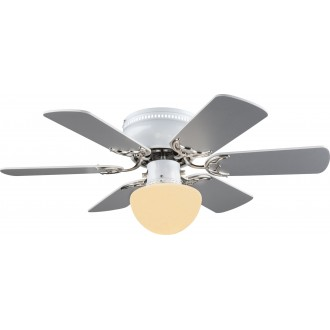 GLOBO 03070 | Formentera Globo stropné svietidlo s ventilátorom prepínač na ťah 1x E27 matný nikel, sivé, biela