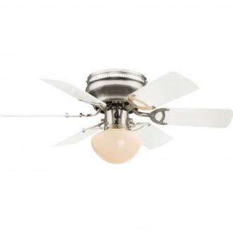GLOBO 0307W | Ugo Globo stropné svietidlo s ventilátorom prepínač na ťah 1x E27 matný nikel, grafit, biela