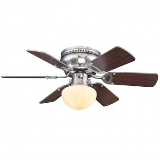 GLOBO 0307WE | Ugo Globo stropné svietidlo s ventilátorom prepínač na ťah 1x E27 matný nikel, wenge, sivé