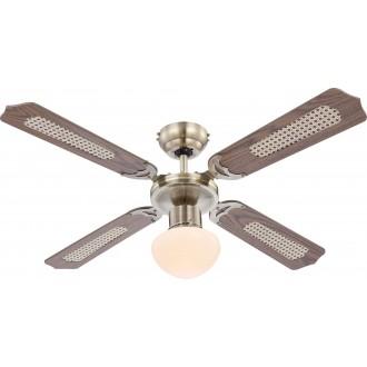 GLOBO 0309 | Champion Globo stropné svietidlo s ventilátorom prepínač na ťah 1x E27 antická meď, dub, trstina