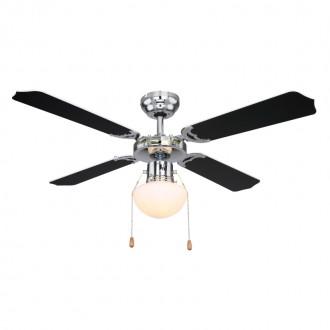 GLOBO 0309CSW | Champion Globo stropné svietidlo s ventilátorom prepínač na ťah 1x E27 chróm, čierna, biela