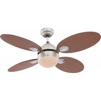 GLOBO 0318 | Wade Globo stropné svietidlo s ventilátorom prepínač na ťah 1x E14 matný nikel, čerešňa, orech