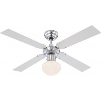 GLOBO 0330 | Champion Globo stropné svietidlo s ventilátorom prepínač na ťah 1x E27 chróm, biela, opál