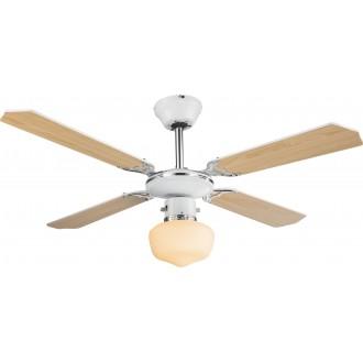 GLOBO 03300 | Sargantana Globo stropné svietidlo s ventilátorom prepínač na ťah 1x E27 chróm, biela, opál