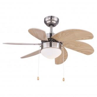 GLOBO 03301 | Rivaldo Globo stropné svietidlo s ventilátorom prepínač na ťah 1x E14 matný nikel, bukové, béž