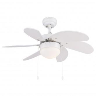 GLOBO 03302 | Rivaldo Globo stropné svietidlo s ventilátorom prepínač na ťah 1x E14 biela