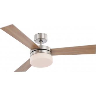 GLOBO 0333 | Alana Globo stropné svietidlo s ventilátorom diaľkový ovládač 2x E14 matný nikel, strieborný, biela