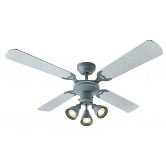 GLOBO 03357 | HarveyG Globo stropné svietidlo s ventilátorom prepínač na ťah 3x GU10 strieborný, betón