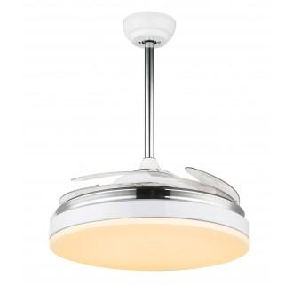 GLOBO 0351 | Cabrera Globo stropné svietidlo s ventilátorom diaľkový ovládač nastaviteľná farebná teplota, otočné prvky 1x LED 3600lm 3000 - 4000 - 6000K chróm, biela, priesvitná