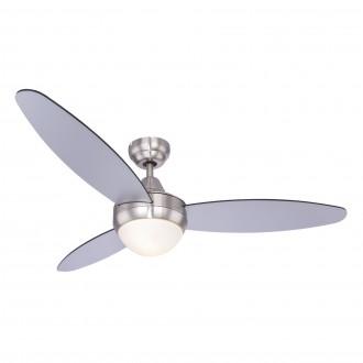 GLOBO 03611 | Cordula Globo stropné svietidlo s ventilátorom diaľkový ovládač 2x E14 matný nikel, čierna, strieborný