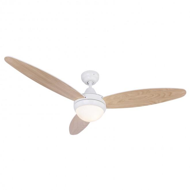 GLOBO 03612 | Cordula Globo stropné svietidlo s ventilátorom diaľkový ovládač 2x E14 biela, bukové