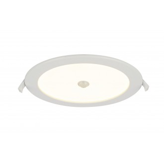 GLOBO 12392-18S | Polly Globo zabudovateľné svietidlo pohybový senzor Ø220mm 1x LED 1900lm 3000K IP44/20 biela, matný opál