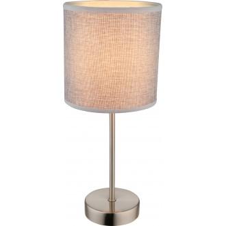 GLOBO 15185T | Paco Globo stolové svietidlo 35cm 1x E14 matný nikel, sivé, biela