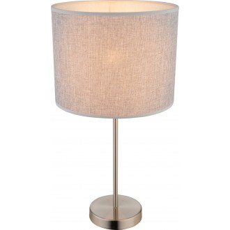 GLOBO 15185T1 | Paco Globo stolové svietidlo 50cm 1x E27 matný nikel, sivé, biela